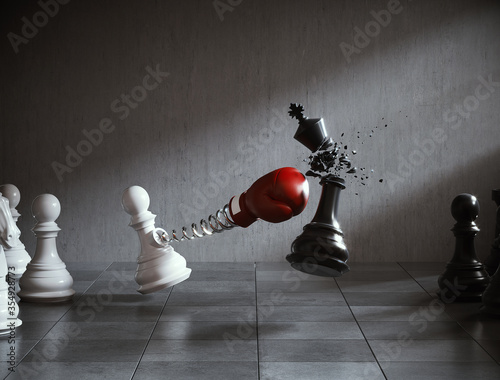 Fototapeta The king golden chess fight with The pawn chess, Concepts of leadership and business strategy, 3d illustration