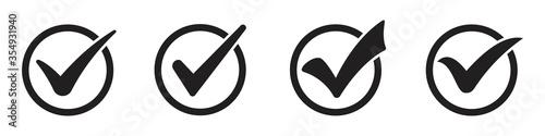 black check mark icon set isolated on white background Slika na platnu
