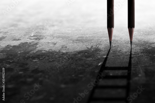 Photo Stairs with pencil for effort and challenge in business to be achievement and successful concept