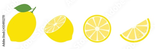 Fototapeta Fresh lemon fruits, Lemon icon vector illustration set