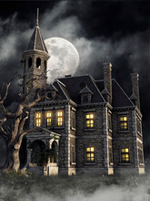 Gothic Mansion With An Old Tre...