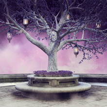 Colorful Scene With A Fantasy Tree With Hanging Lanterns And Purple Flowers. 3D Render.