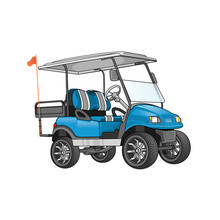 Golf Cart Blue Vector Illustra...