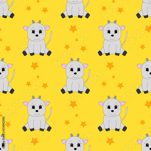 Seamless pattern with cartoon goat. Vector illustration.