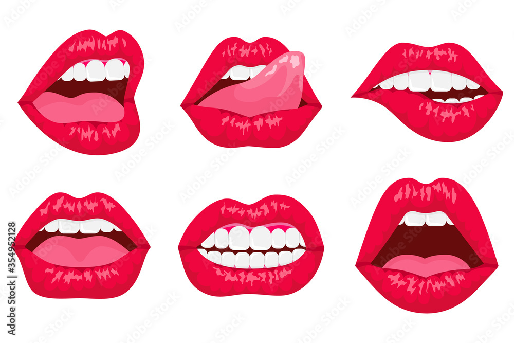 Fototapeta Sexy woman's flat lips expressing different emotions, such as smile, kiss, half-open mouth, biting lip, lip licking, tongue out. Red lips collection.