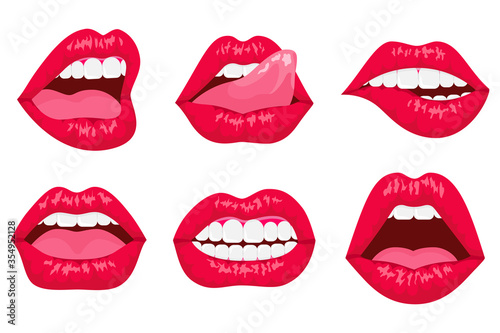Fototapeta Sexy woman's flat lips expressing different emotions, such as smile, kiss, half-open mouth, biting lip, lip licking, tongue out. Red lips collection.  obraz