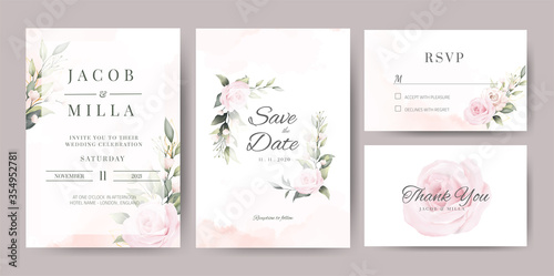 Fotomural wedding invitaion card set template design with pink rose watercolor and gold le