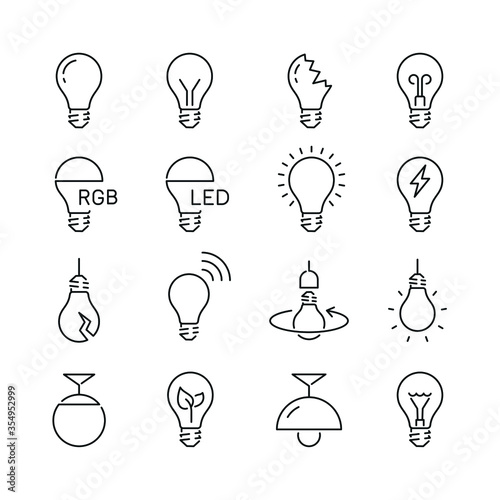 Light bulb related icons: thin vector icon set, black and white kit Fototapet