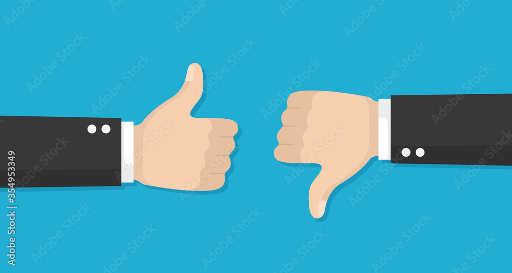 Fototapeta Thumbs up and down vector flat icon