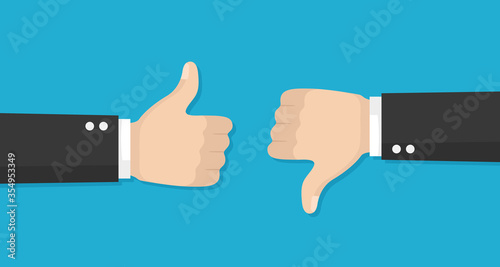 Fototapeta Thumbs up and down vector flat icon obraz