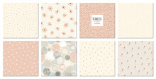 Trendy Seamless Patterns Set. Cool Abstract And Floral Design. For Fashion Fabrics, Kid's Clothes, Home Decor, Quilting, T-shirts, Backgrounds, Cards And Templates, Scrapbooking Etc.