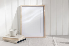 Empty Wooden Frame Mockup On B...