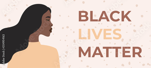 Obraz Profile girl protests for her rights, black lives matter. Vector illustration in flat cartoon style on isolated background.  - fototapety do salonu