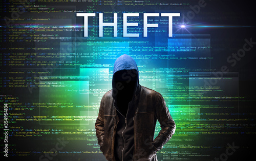 Fototapety, obrazy: Faceless hacker with THEFT inscription on a binary code background