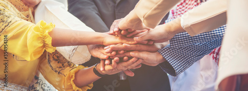 Fotografia Group of people diversity multiethnic teamwork collaboration team meeting communication  Unified team concept