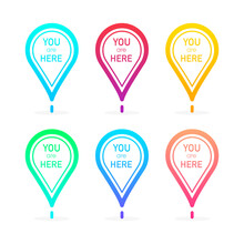 You Are Here Red Location Pointer Marker Collection Of Different Gradients Isolated On White Background. Vector Illustration.
