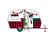 .Buffalo Plaid Christmas  Camper. Vintage Vector Illustration..  Engraved Design Element On A White Background.  Christmas Style.