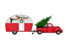.Christmas Truck With A Camper...
