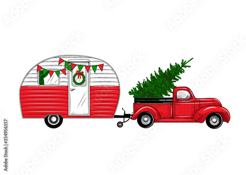 Fototapeta .Christmas truck with a camper. Color vintage illustration. .  Engraved design elements on a white background.  Christmas style. Vector retro card. obraz