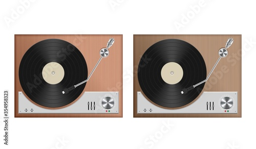 Fotografia Vintage record player vector illustration isolated on white