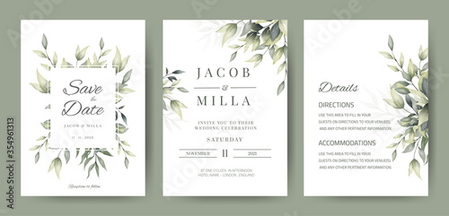 Fototapeta wedding invitation card set template design with watercolor greenery leaf and branch  obraz
