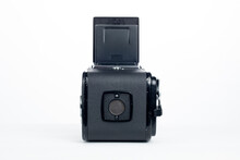 Kuala Lumpur, Malaysia - 2nd June 2020. Back View Of Hasselblad 500c/m Medium Format Film Camera Isolated In White Background