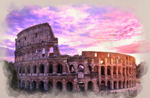 Water Color Effect Of Photo Of Colosseum In Rome At Sunset Against Purple Cloudy Sky, Italy