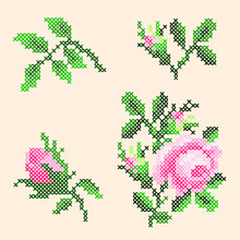 Vector Illustration Of A Set Of Floral Cross Stitch Elements