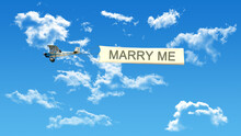 Marry Me Airplane Flag On Blue...
