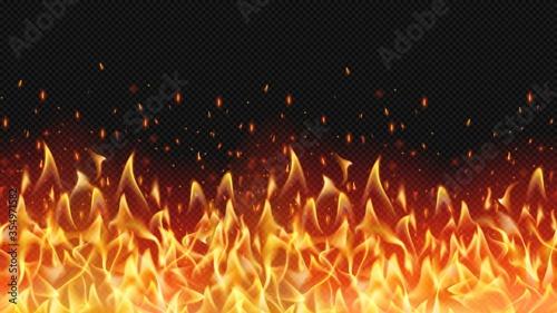 Fotografia Seamless realistic fire border, flame warm design, hell decoration, texture dang