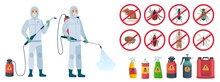 Cartoon Disinfector. Disinfectors Characters In Protective Suits With Poison Spray Bottle. Get Rid Of Rats And Insects Vector Illustration Set. Pest Control, Insect, Chemical Poison Equipment