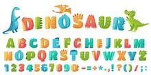 Cartoon Dino Font. Dinosaur Al...