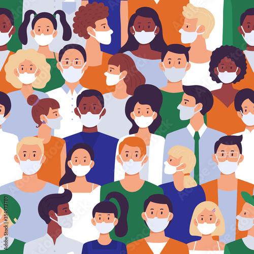 Fotografie, Obraz People crowd in face masks