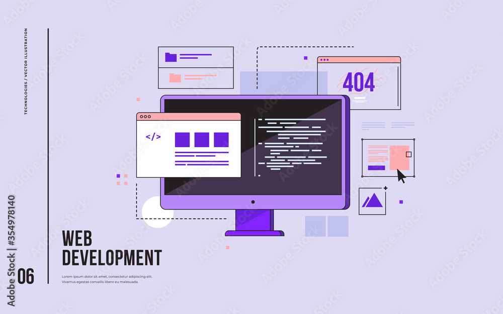 Fototapeta Concept of web development, programming, coding and web design. Monitor with program code on screen and open web pages. Digital industry. Innovations and technologies. Vector flat illustration.