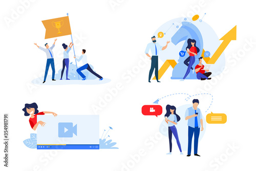 Obraz Flat design style illustrations of business strategy, teamwork, video streaming, online communication. Vector concepts for website banner, marketing material, business presentation, online advertisin - fototapety do salonu