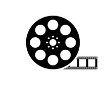 Film Reel Movie Icon. Vector Isolated Icon. Black Movie Reel Icon In Vintage Style On White Background.