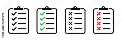 Obraz Clipboard vector icons isolated. Task done sign.  Green check mark icons symbol.Tick symbol. Red cross tick. - fototapety do salonu