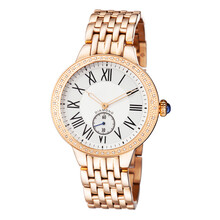 Rose Gold Luxury Watch Enhanced By Diamonds Bezel Quartz Isolated On White. Front View Classic Swiss 40mm Chronograph Watch. Ladies Automatic Wristwatch With Golden Strap & Analog Dial