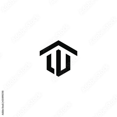 Initial Letter Logo LU Letter With House Concept Logo Design. W logo home Fototapete