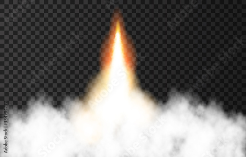 Fotografering Flame and smoke from space rocket launch.