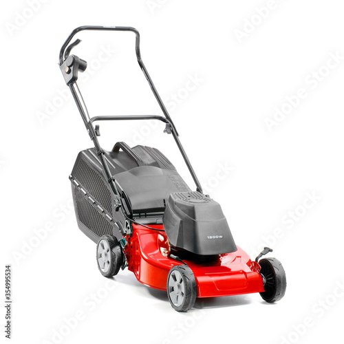 Fotomural Red Lawn Mower Isolated on White Background