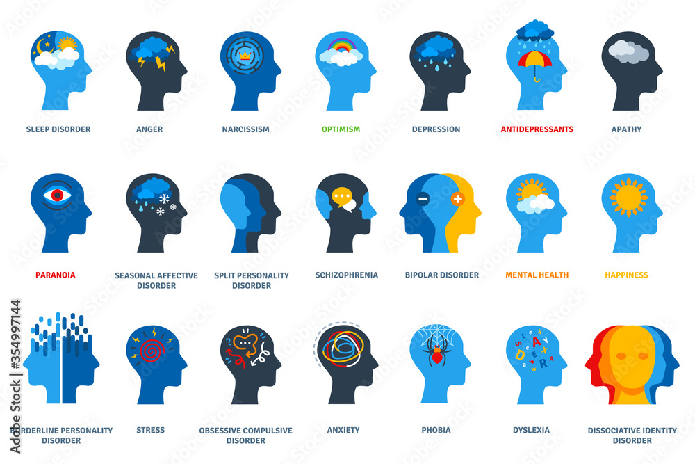 Fototapeta Set of psychological problems concept on white background. Mental disorders, illnesses and psychiatry. Human head flat icons. Depression, bipolar and ocd psychology logo.