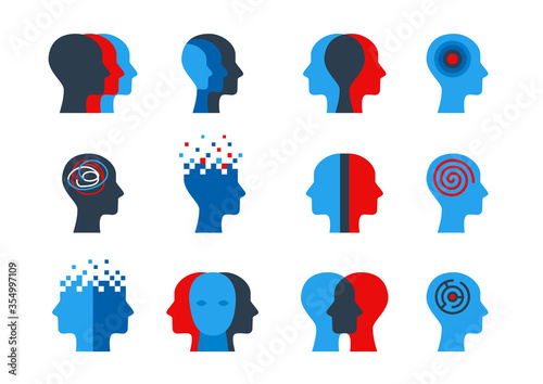 Photo Set of human head with brain process, people thinking, mental health or disorders