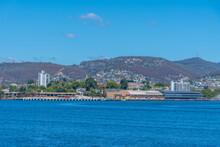 Piers In The Port Of Hobart In Australia