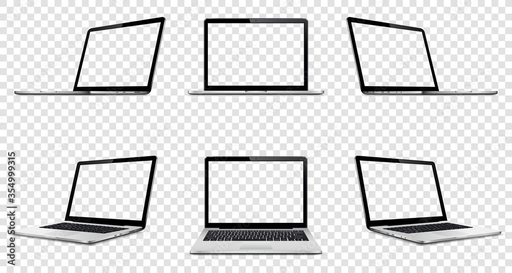 Fototapeta Laptop with transparent screen on transparent background. Perspective, top and front laptop view with transparent screen.