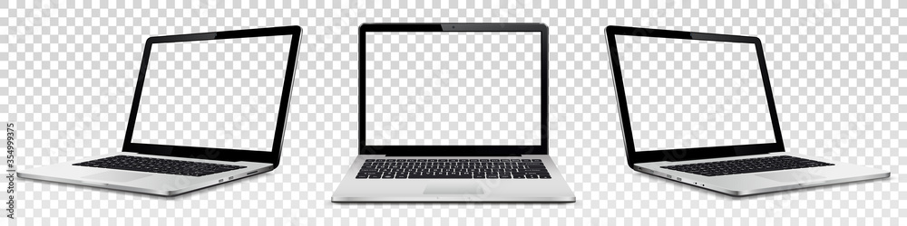 Fototapeta Laptop mock up with transparent screen isolated