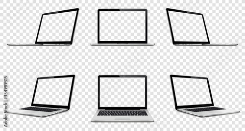 Obraz Laptop with transparent screen on transparent background. Perspective, top and front laptop view with transparent screen. - fototapety do salonu
