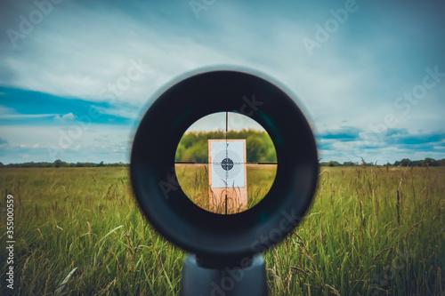 Fototapeta Sniper gun scope view, target