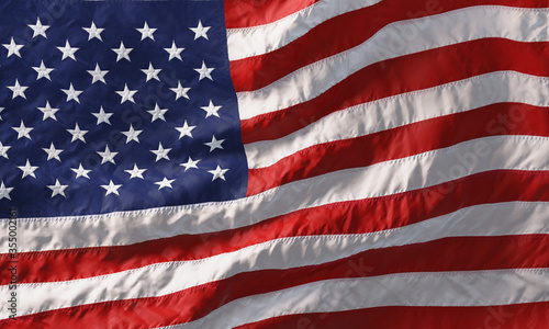 Background made of American flag waving in the wind. 3D Tableau sur Toile