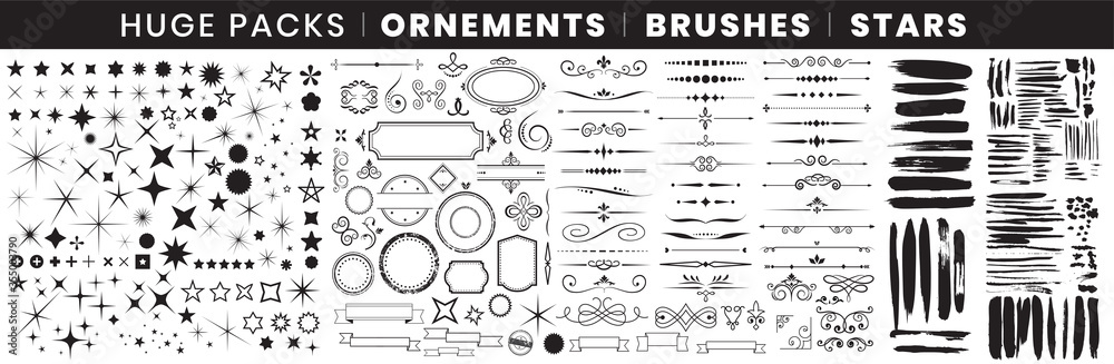 Fototapeta Full Pack Ornements Brushes stars